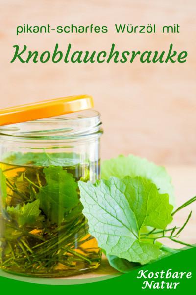 Die gesunde Knoblauchsrauke eignet sich ausgezeichnet zum Würzen vielerlei herzhafter Speisen. Probiere doch mal dieses Rezept für ein pikant-scharfes Würzöl mit Knoblauchnote!
