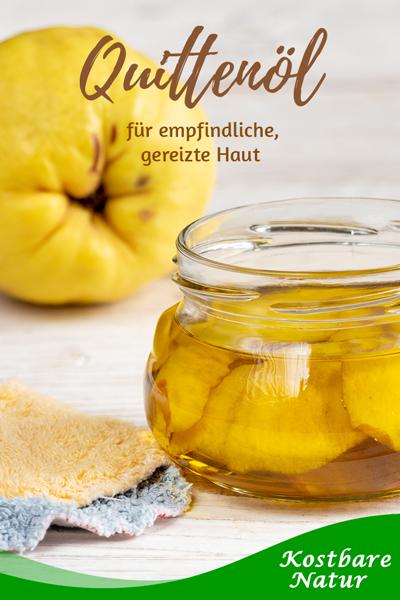 Quittenöl kannst du leicht selbst herstellen und so die wertvollen Inhaltsstoffen der Quittenschale für die Behandlung empfindlicher Haut nutzen.